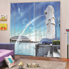 3D Digital Print Merlion Curtains For Living Room European Sheer Curtains For Window Bedroom Fabrics Drapes Home Decor AP15(China)