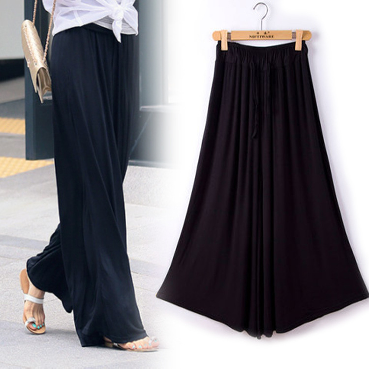 2018 Women's Autumn New Modal Large Size Loose Casual   Pants   Thin Section Waist Hem Skirt Trousers Women   Wide     Leg     Pants