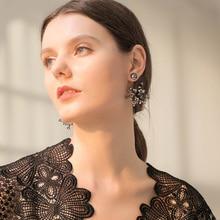 Viennois Dangle Earrings for Women Black Color Austrian Crystal Drop Earrings Female Wedding Party Jewelry недорого
