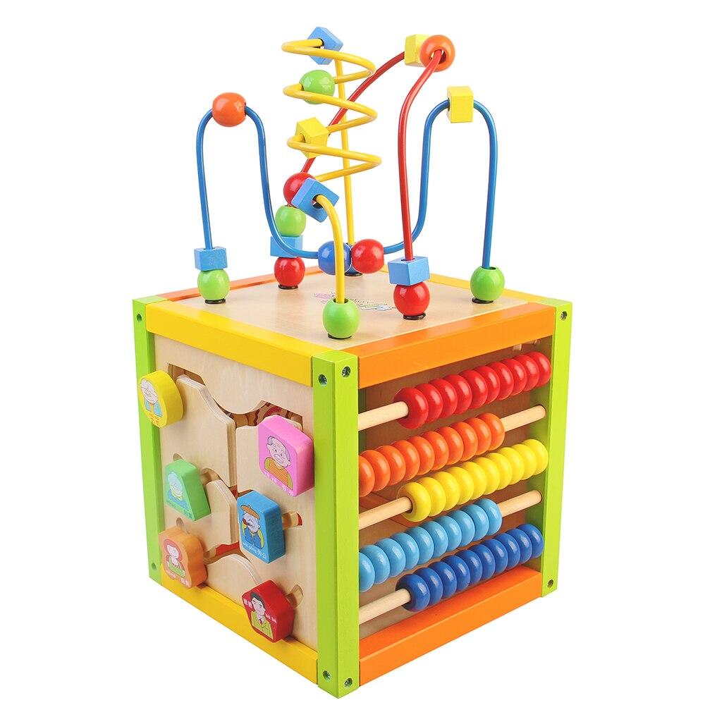 1 Pièce Multifonctionnel En Bois Puzzles de Bande Dessinée Coloré Ronde Perles Amusantes Pour Les Enfants Cadeau Jouet Éducatif Précoce P0