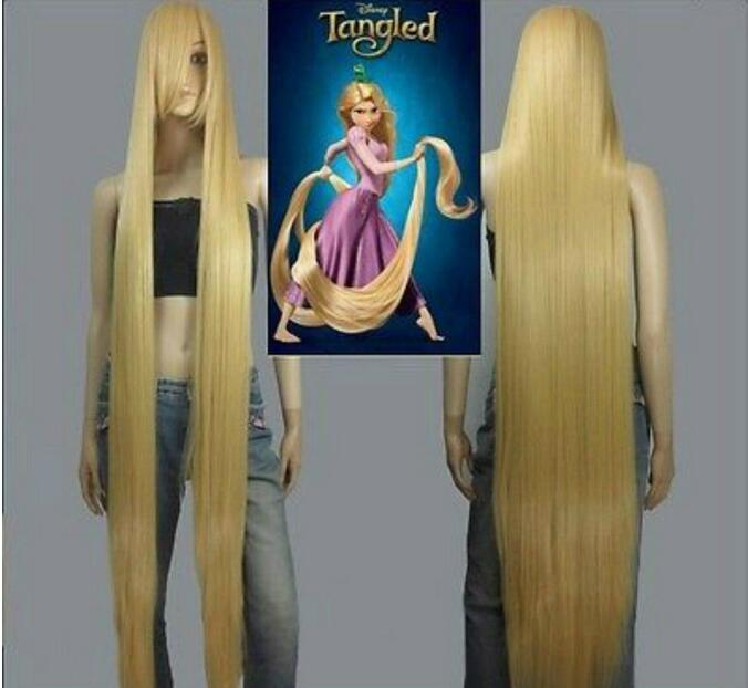Jewelry Wig HOT! Movie Tangled Rapunzel Long Blonde Cosplay Straight Wig Hair 150cm Free Shipping(China)