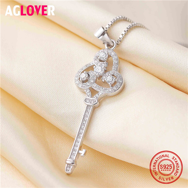 AGLOVER New Arrival 925 Sterling Silver Key Clear CZ Zircon Chain Necklaces Pendants For Women Fine Jewelry Collar in Necklaces from Jewelry Accessories