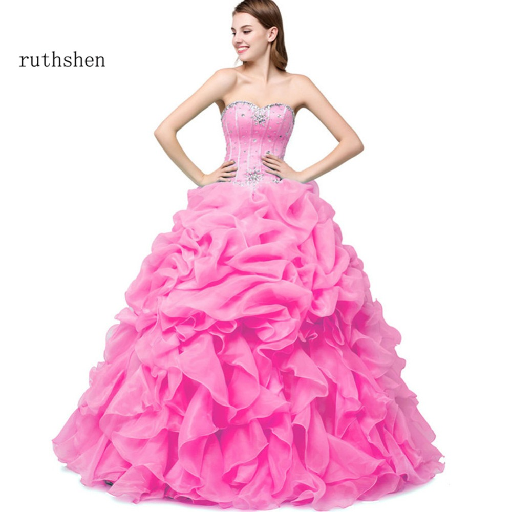 ruthshen Pink Sweet 16 Quinceanera Dresses Cheap Off Shoulder Flowers  Beaded Tulle Debutante 15 Teens Party Prom Dress 27f153cdde09