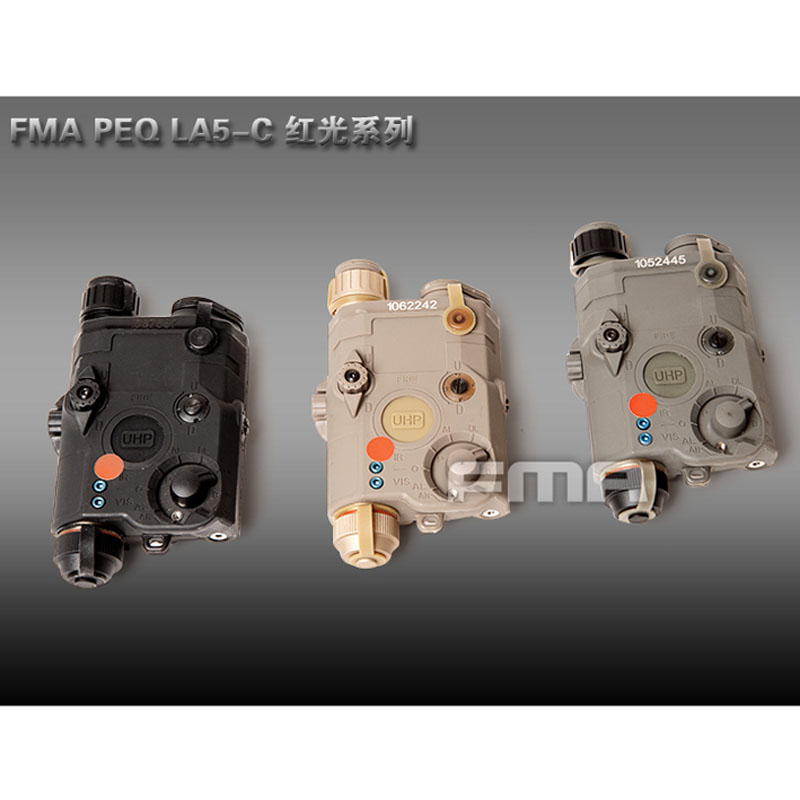 FMA Tactical Military PEQ LA5-C Upgrade Version LED White light + Red laser with IR Lenses BK/DE/FG Battery case tb fma an peq 15 upgrade version led white light