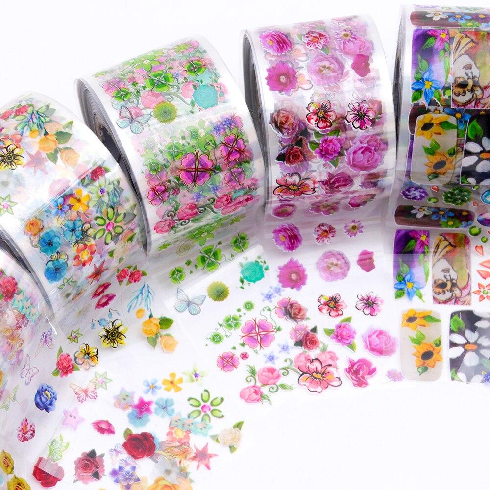 8 롤/세트 네일 아트 전송 포일 스티커 투명한베이스 3.8x120m 다채로운 꽃 네일 슬라이더 액세서리 장식 tr690-에서스티커 & 디캘즈부터 미용 & 건강 의  그룹 2