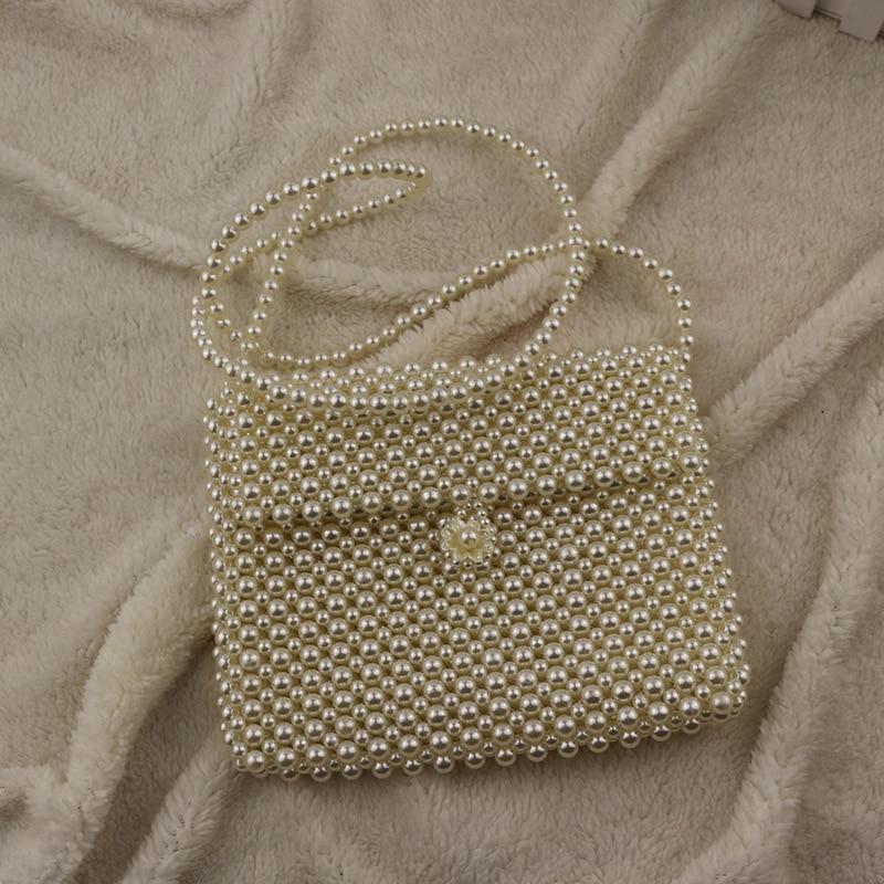 2019 New Mini Bag Pearl Handmade Beaded Handbag Net Red Mobile Phone Bag Beach Travel Gift Bag Ladies Fashion Evening Bag Purse