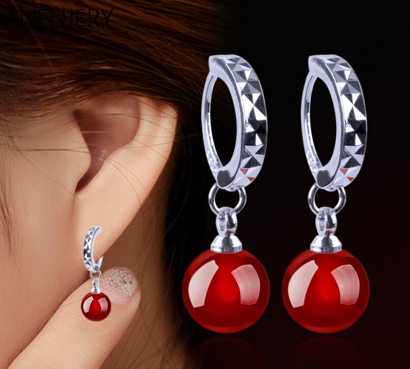 925-sterling-silver Earrings pendientes Natural Round Red and Black Agate Pendants Drop Earrings For Women brincos E190