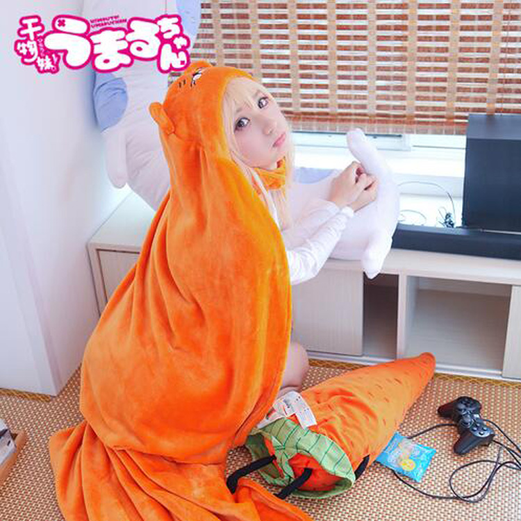 2017 High Quality Himouto! Umaru-chan Cloak Anime Umaru Chan Doma Umaru Cosplay Costume Flannels Cloaks Blanket Soft Cap Hoodie(China)