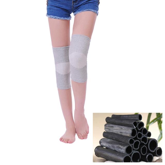 2 Pcs/1 Pair Alta Elástica Respirável Carvão De Bambu Pad Patela Do Joelho Cinta Magnética Do Joelho Apoio Turmalina Aquecimento Espessamento