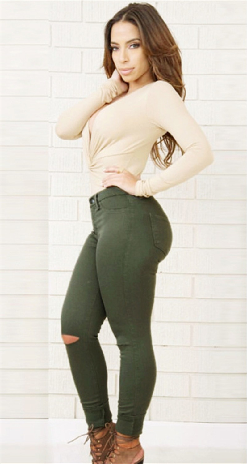 Online Get Cheap Army Green Plus Size Pencil Skinny Jeans ...