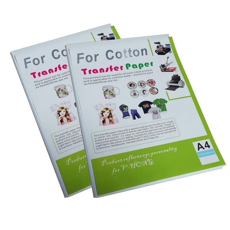 Açık renk tişört süblimasyon pamuklu giysiler kağıt ısı transfer kağıdı için kullanılan A4 boyutu mürekkep püskürtmeli yazıcı