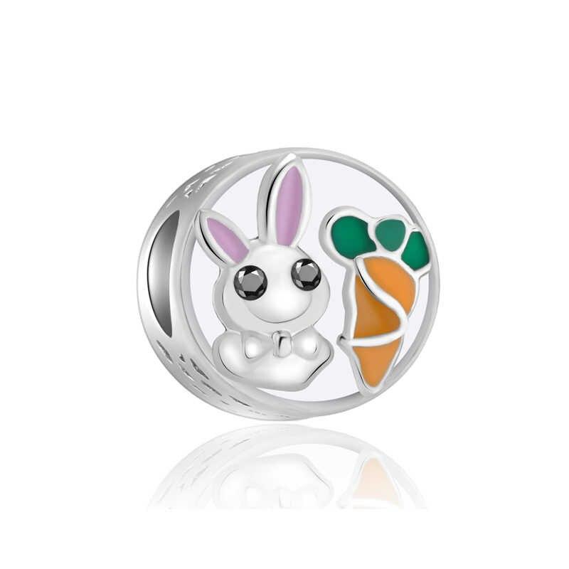 ขนาดเล็ก Evil Eye ยูนิคอร์นดาวเพลงกระต่ายหมีจี้ลูกปัด Pandora Charms สร้อยข้อมือ DIY สำหรับผู้หญิง lover