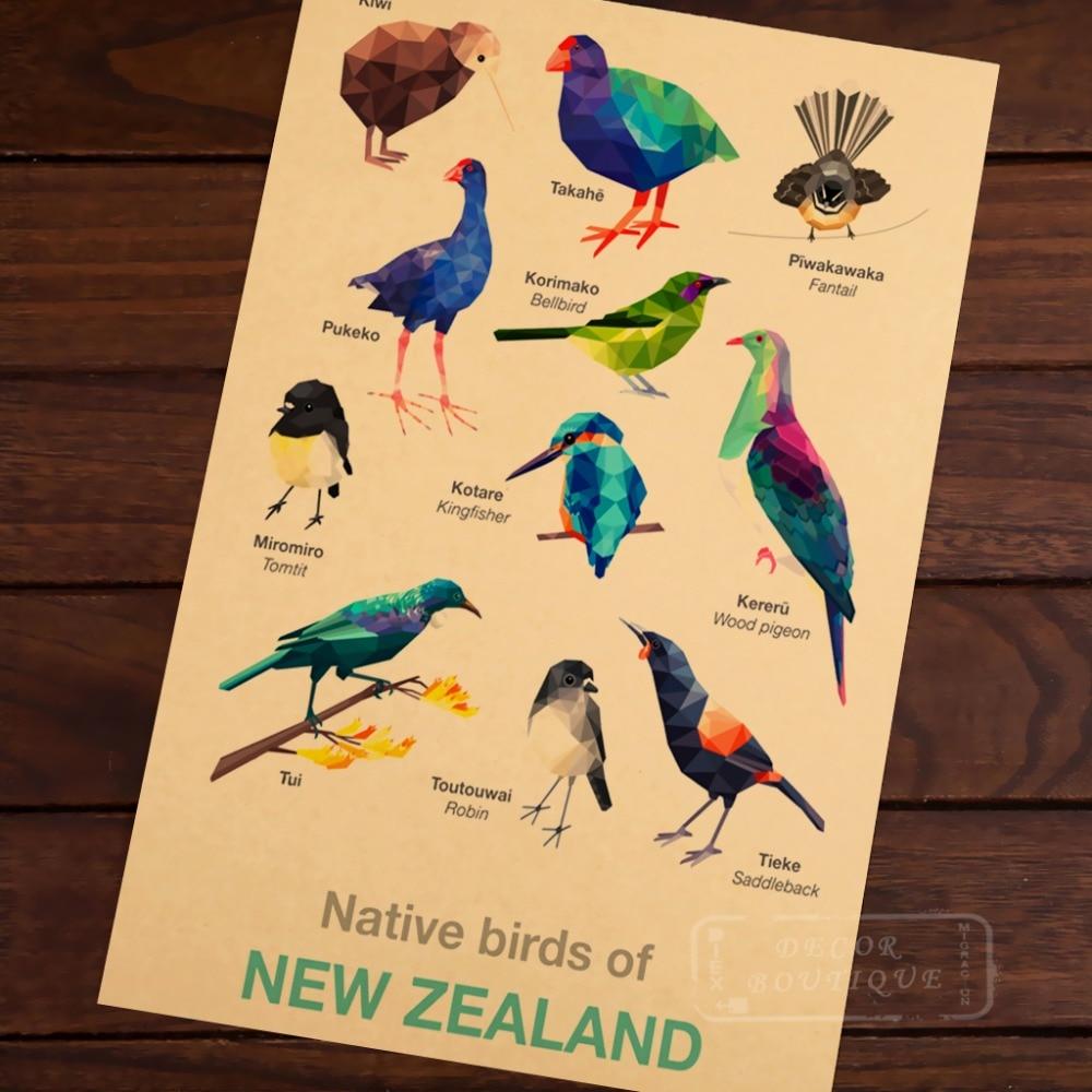 Bird Geometric birds Map of New Zealand NZ Vintage Retro Canvas ...