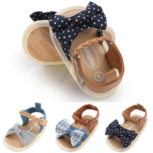 Baby First Walkers Shoes Summer Canvas Striped Bowknot For Girl Newborn Non-slip Shoes Playtoday Beach Casual Kids Clothing In Short Supply Baby Shoes First Walkers