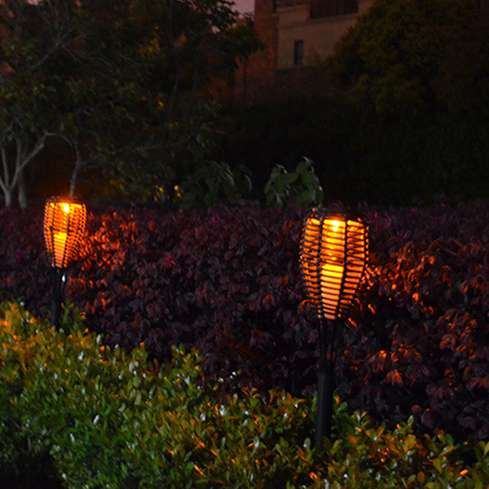 Outdoor Waterproof LED Solar Rattan Torch Light Landscape Lawn Garden Street Ground Decoration Lamp