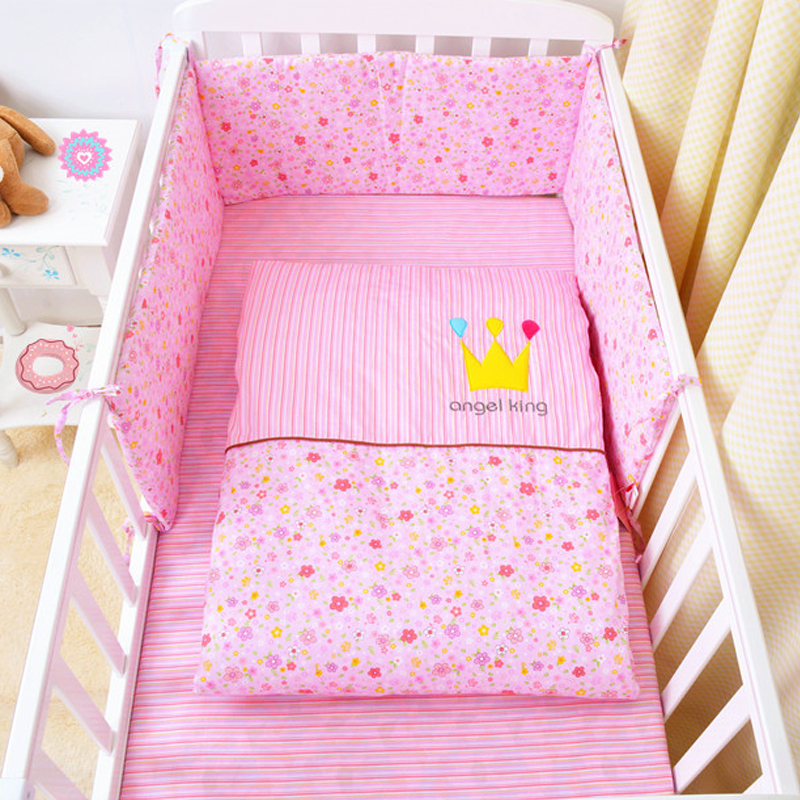 Baby Bed Bumper Infant Bedding Set Flower Print Design Cotton Toddler Sleeping Safe Cushion Cot Bumper