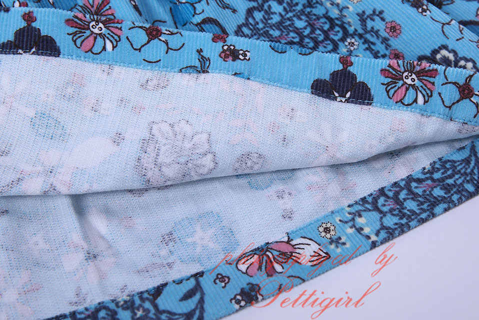 Pettigirl ออกแบบใหม่สาวชุดสีฟ้าสูงเอวผ้าลูกฟูกดอกไม้ชุดเด็กสวมใส่ G-MBGD1006-1901