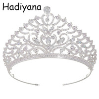 Hadiyana Gorgeous Sparkling Silver Plated Wedding Big Crown Headband Bridal Tiara Pageant Hair Accessories Women Crowns HG6024