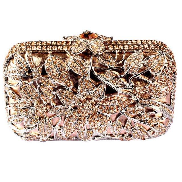 Fashion Luxury Bags Flower Box Crystal Clutch