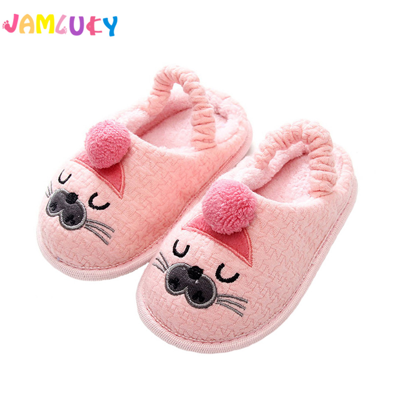 Kids Slippers Children Home Slippers Girls Cotton Cartoon Winter Boys Slipper Indoor House Bedroom Baby Soft Flats Velvet Shoes
