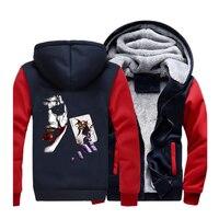 Heath Ledger Joker Hoodies Streetwear Sweatshirt Men Winter Fleece Warm Thick Hooded Sportswear Coat Hoodie Super Villain Jacket