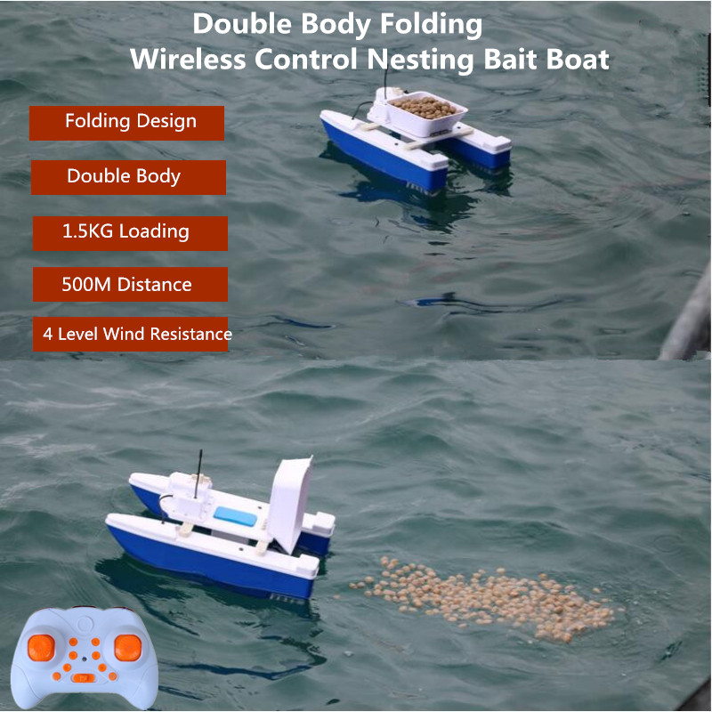2019 Double Body Folding 180Mins 500m Remote Control Fishing Bait Boat 1.5KG Loading Auto RC Remote Control Fishing Bait Boat