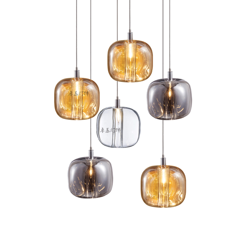 Nordique moderne boule de verre bulle pendentif LED or clair anneau cuisine salon restaurant chambre suspension lampe