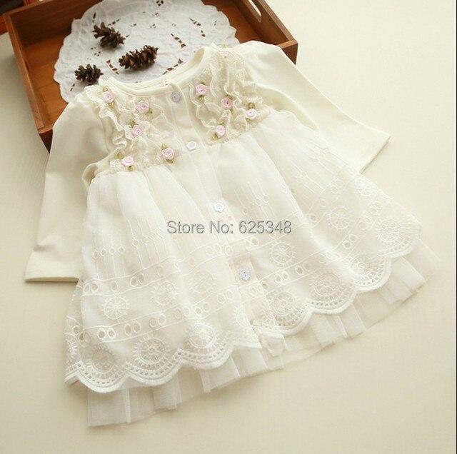 2019 Spring and autumn 0-2 yrs baby clothing floral lace lovely princess newborn baby tutu dress infant dresses vestido infantil 1