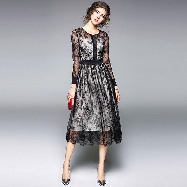 Borisovich luxe noir dentelle femmes robe nouveauté 2018 printemps mode o-cou élégant mince dames soirée robes M086