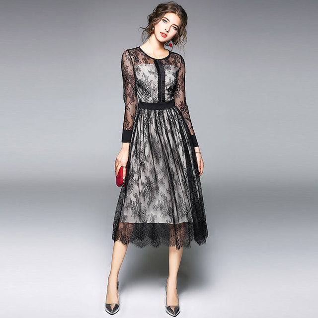940844401ab Luxury Black Lace Women Dress New Arrival 2018 Spring Fashion O-neck Elegant  Slim Ladies Evening Party Dresses