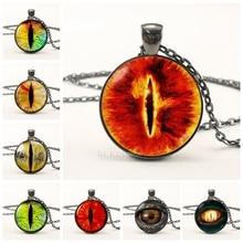 Evil Dragon Eyes Balck Chain Necklace Eye Sauron Glass Dome Cabochon Pendant Men Women Vintage Jewelry Statement Gift