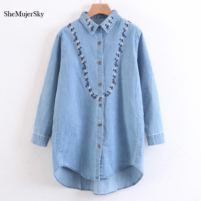 SheMujerSky Women Long Embroidery Blouse Floral Denim Shirt Long Shirts Camisa Jeans Feminina Manga Longa