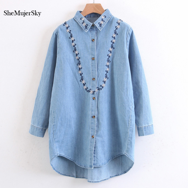 SheMujerSky Women Long Embroidery Blouse Floral Denim Shirt Long Shirts Camisa Jeans Feminina Manga Longa