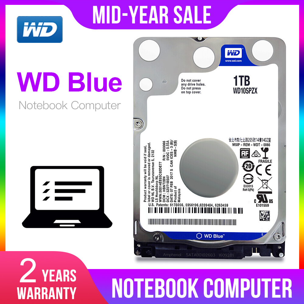 Western Digital WD Blue 2 5 1TB SATA 6Gb s 5400RPM HDD Internal Hard Disk Drive