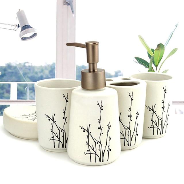 Bathroom European creative ceramic wash five-piece kit with mouthwash brush tooth cup bathroom storage knot wedding supplies