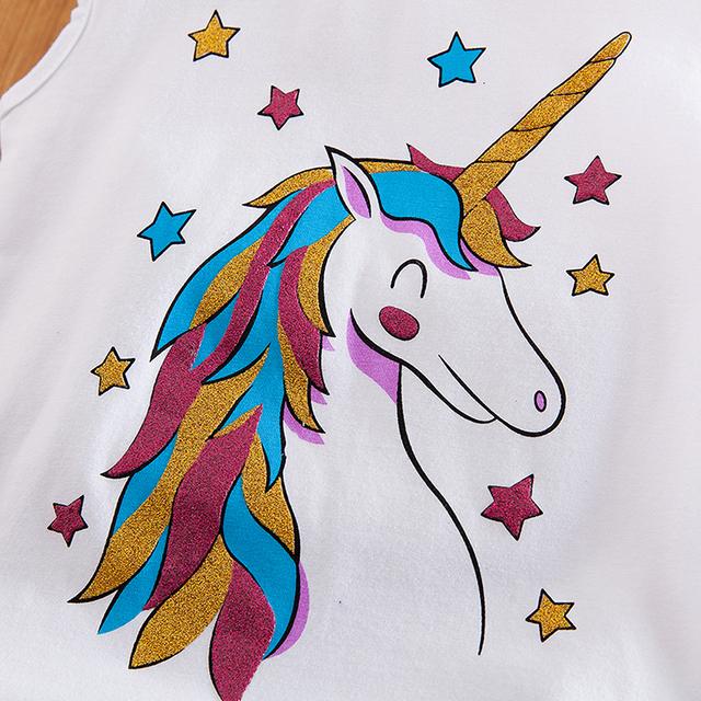3-8 Years Fancy Star Design Unicorn Dress for Girls Princess Unicornio Party Dresses Summer Kids Dresses for Girl Easter Costume