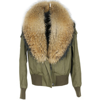 women cotton Flight suit jacket with real big raccoon fur collar spring autumn female short coats female fashion cotton outwear