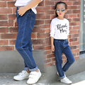 2017 весна и осень горячие моды классические детские эластичные джинсы 2-13 лет девушка чистый цвет сшивание дикие брюки