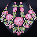 FARLENA Wedding Jewelry Exquisite 3D flower necklace earrings set full crystal rhinestones african bridal jewelry sets