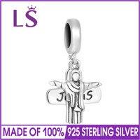 LS Jesus Kreuz Baumeln 100% 925 Sterling Silber Charme Perlen Fit Original Europäischen Charme Bracelet & Bangles