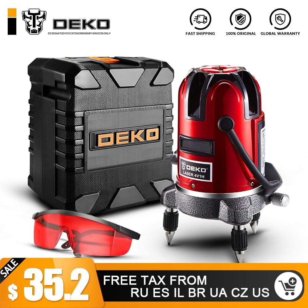 DEKO 5 Lignes 6 Points Laser Niveau Automatique Auto Nivellement 360 Vertical et Inclinaison Horizontale et le Mode En Plein Air peut utiliser w/Récepteur