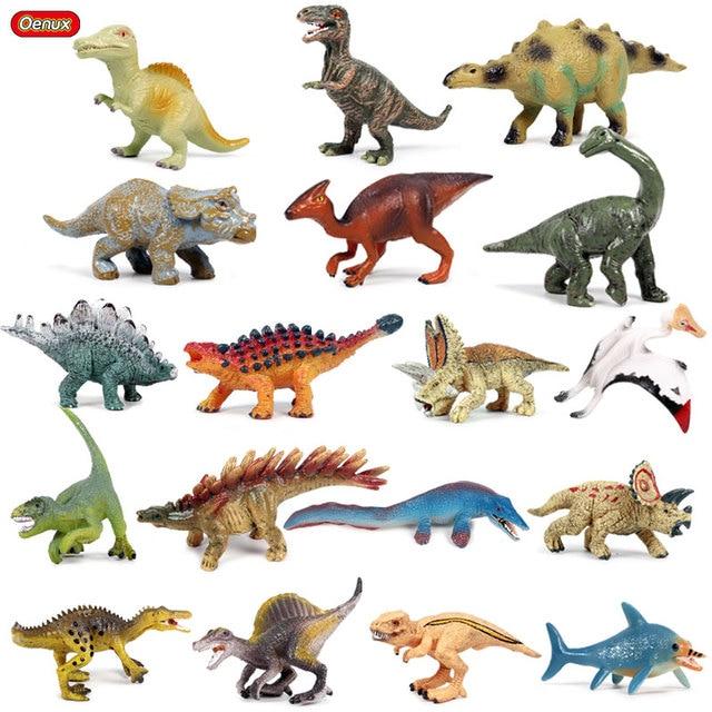 Oenux 18 pcs Prehistoric Action Figure Pequeno T-Rex Dinossauro Pterossauro Dinossauro do Jurássico PVC Modelo de Alta Qualidade Mini Bonito brinquedos