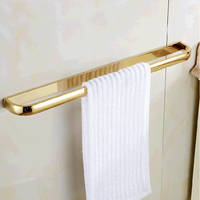 Wholesale And Retail Luxury Polished Golden Brass Wall Mounted Towel Rack Holder Single Bar Towel Hanger