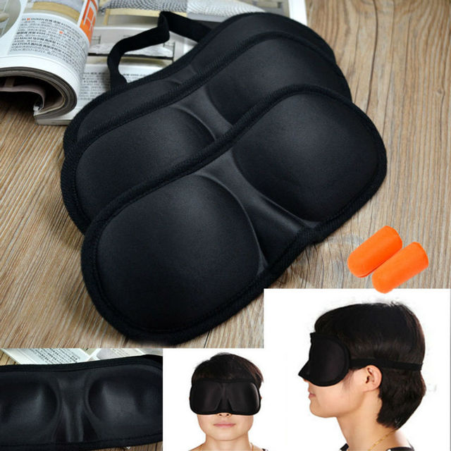 Dormir máscara de olho preto Eyeshade Eyepatch Blindfold com tampões sombra luz guia tampa Aid viagem do sono