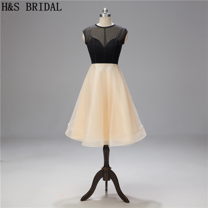 H&S BRIDAL Short   Cocktail     Dresses   Sheer Jewel Neck   Dresses   Party robe   cocktail   2019 dancing party gowns