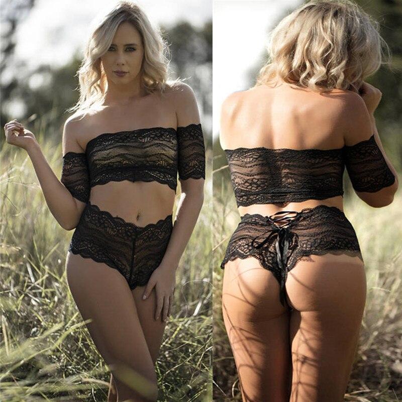 Sexy Women Shoulder Bra Interior Sexy Femenina Lingerie Women Underwear Plus Size Lace Flower Transparent Hollow Bra Set Panties