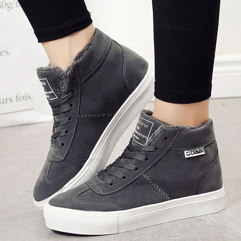 Women Winter boots Female Suede Martin Snow Ankle Boots Lace Up Plush Sneakers Shoes Bottes suede ankle snow boots