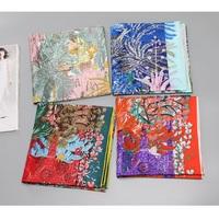 Women 100% Twill Silk   Scarf   Fashion Print Large Square Silk Scarfs Shawl Hijab Foulard 88X88CM