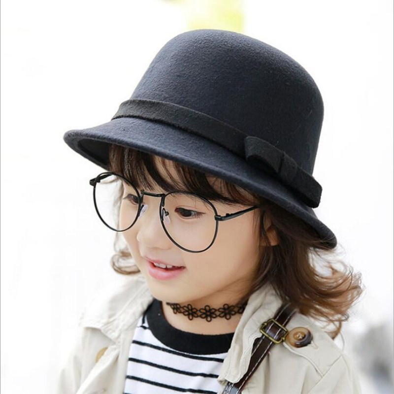 323050940ab790 Seioum new Vintage Retro Kids Child Boy Girl Hats Fedora polyester Felt  Crushable Wide Brim Cloche
