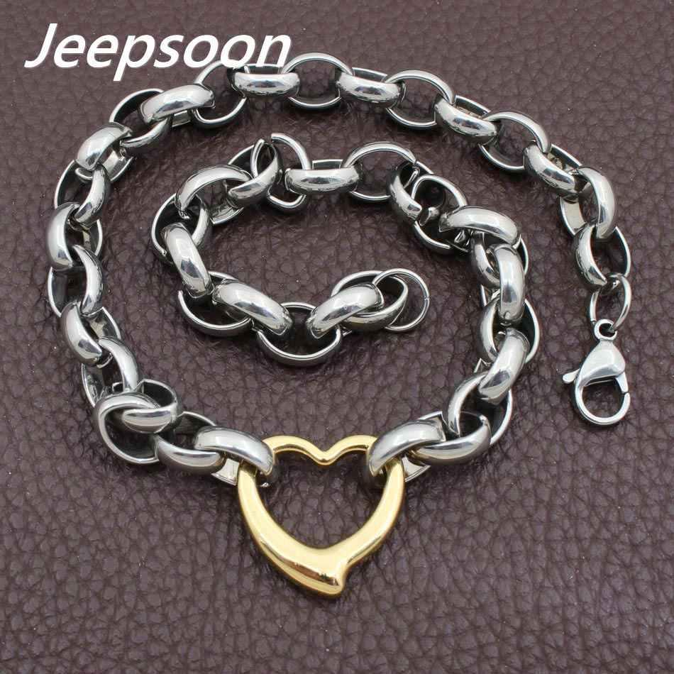 Hot sprzedaży moda biżuteria ze stali nierdzewnej Joyas naszyjnik w kształcie serca łańcuch wysokiej jakości Jeepsoon NGEGAOBG